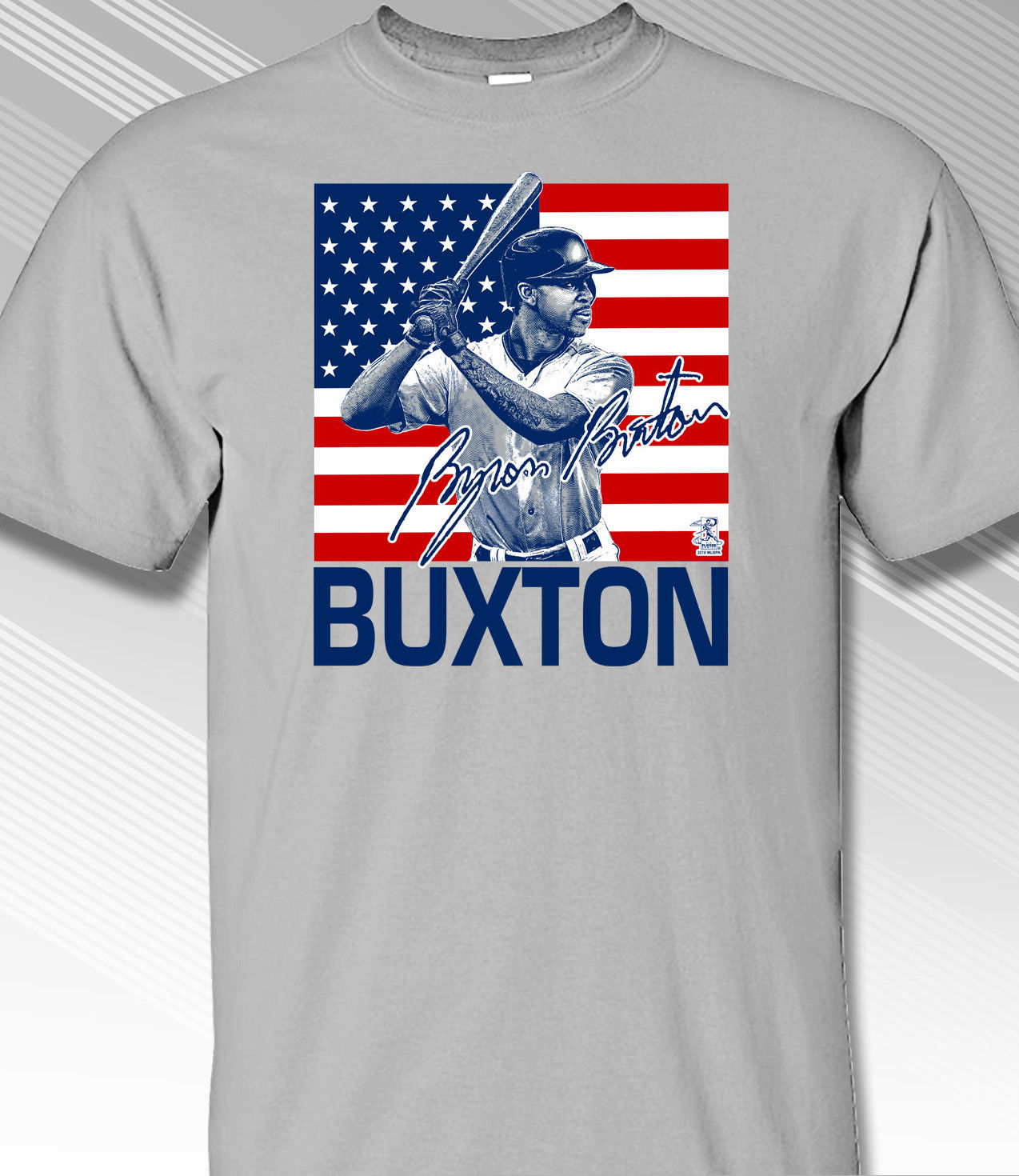 Byron Buxton USA Flag T-Shirt<br>Choose Your Color<br>Short or Long Sleeve<br>Youth Med to Adult 4X