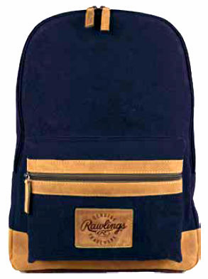 Canvas Collection Baseball Leather Navy Blue Backpack by Rawlings