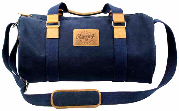 Canvas Collection Baseball Leather Navy Blue Duffle Bag by Rawlings