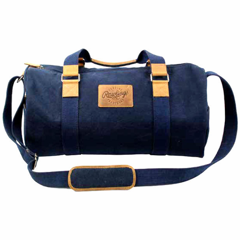 WEEKLY SPECIAL #3<br>Canvas Collection Baseball Leather Dark Navy Blue Duffel Bag by Rawlings