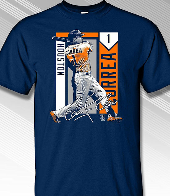 Carlos Correa Houston Colorblock T-Shirt<br>Orange or Navy Blue<br>Short or Long Sleeve<br>Youth Med to Adult 4X