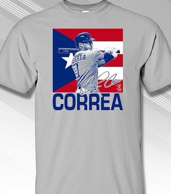 Carlos Correa Puerto Rico Flag T-Shirt<br>Short or Long Sleeve<br>Youth Med to Adult 4X