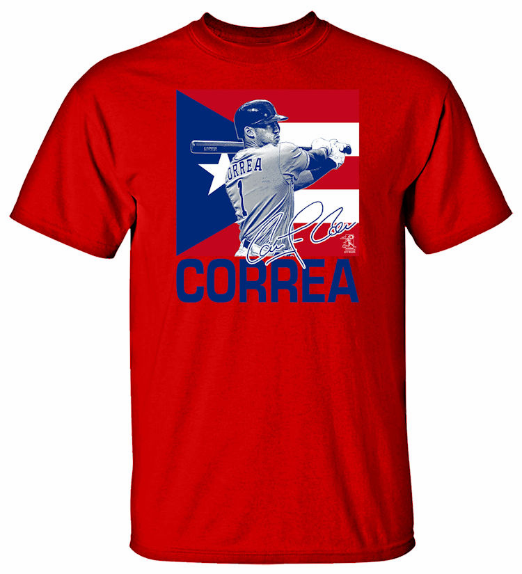 Carlos Correa Puerto Rico Flag T-Shirt<br>Choose Your Color<br>Short or Long Sleeve<br>Youth Med to Adult 4X