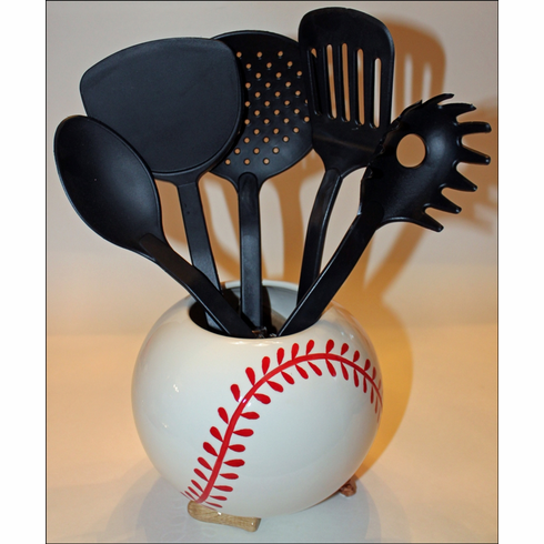 Ceramic Baseball Utensil Holder with 5 Kitchen Tools<br>LESS THAN 4 LEFT!