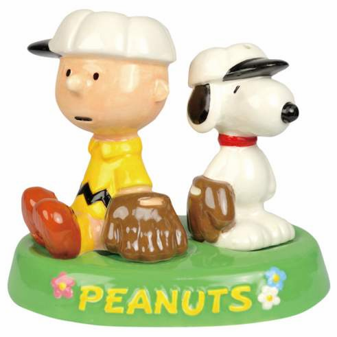 Charlie Brown and Snoopy Baseball Salt & Pepper Shakers