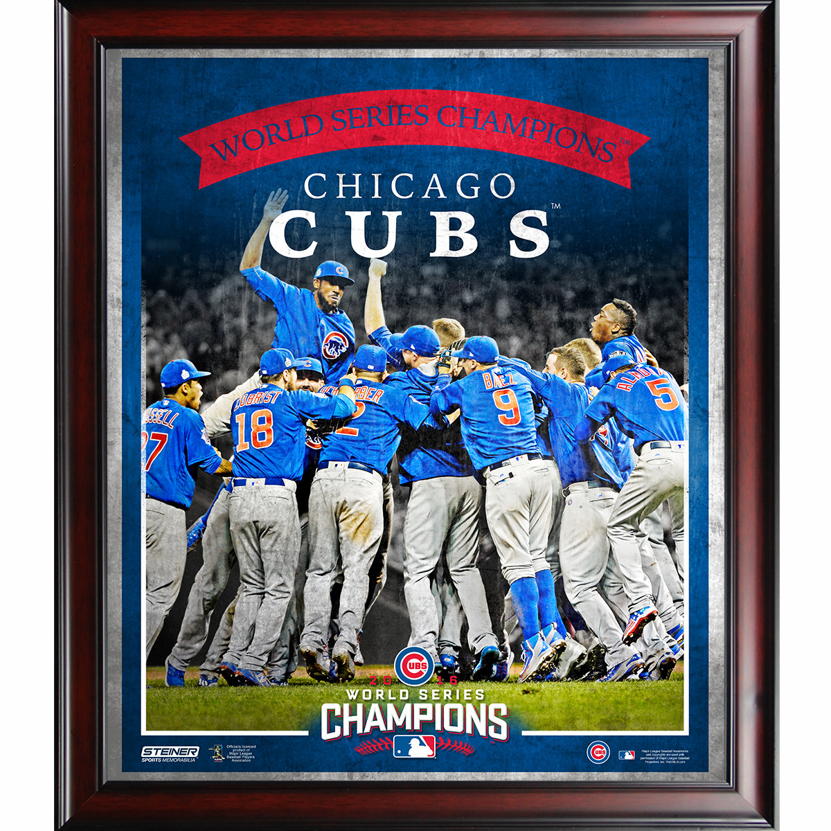 """Chicago Cubs 2016 World Series Champions 16"""" x 20"""" Team Celebration Framed Collage by Steiner"""