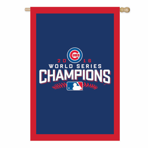 "Chicago Cubs 2016 World Series Champions 28"" x 44"" Applique Flag<br>LESS THAN 6 LEFT!"