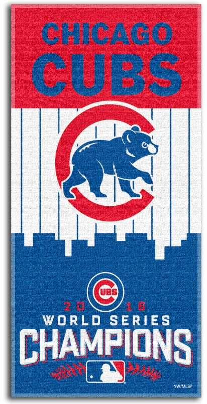 "Chicago Cubs 2016 World Series Champions 28"" x 58"" Beach Towel<br>LESS THAN 12 LEFT!"