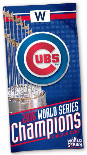 "Chicago Cubs 2016 World Series Champions 30"" x 60"" Spectra Beach Towel<br>LESS THAN 12 LEFT!"