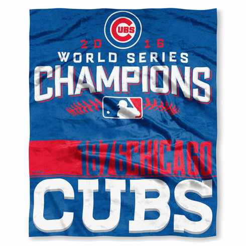 "Chicago Cubs 2016 World Series Champions 50"" x 60"" Silk Touch Throw Blanket<br>LESS THAN 6 LEFT!"