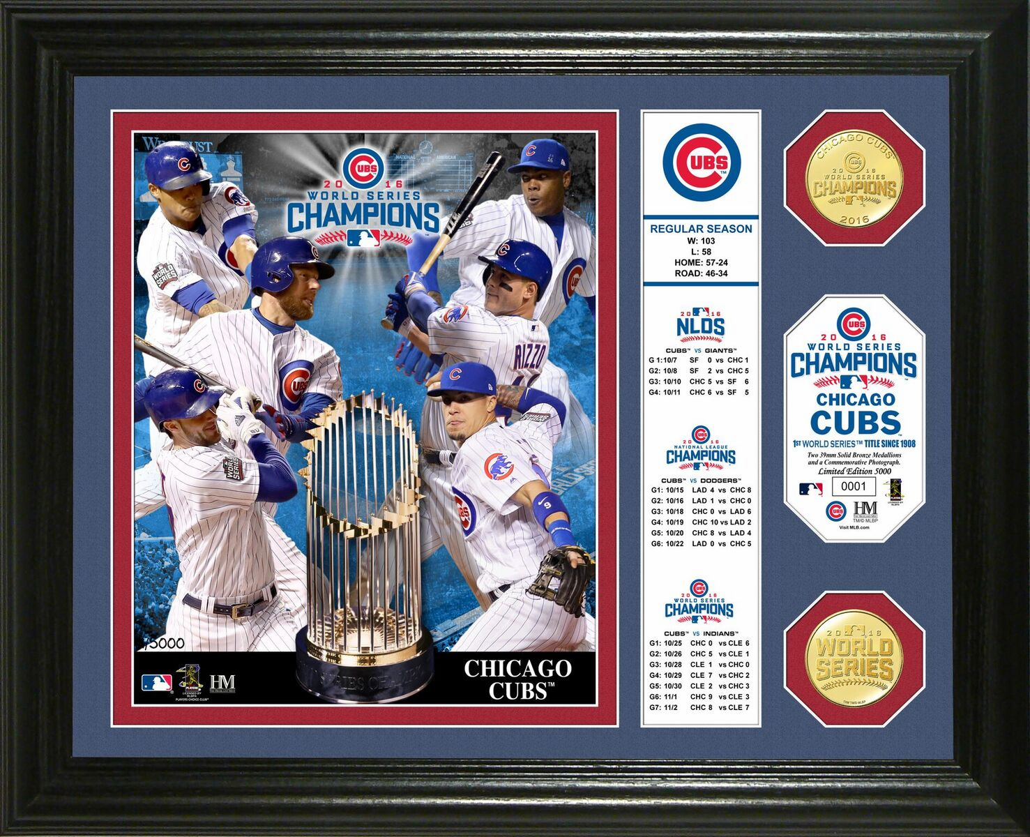 """Chicago Cubs 2016 World Series Champions """"Banner"""" Gold Coin Framed Photo Mint"""