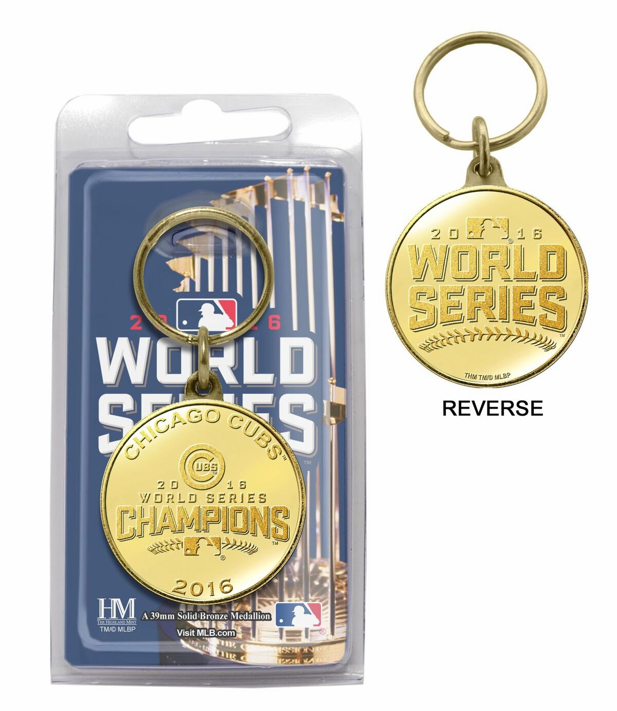 Chicago Cubs 2016 World Series Champions Bronze Medallion Key Chain<br>ONLY 1 LEFT!