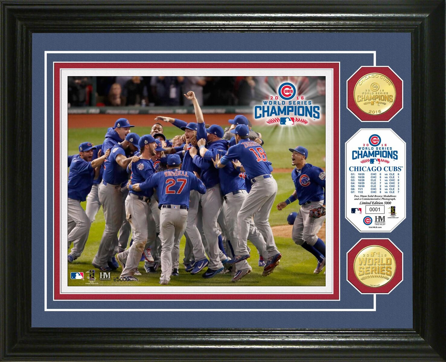 """Chicago Cubs 2016 World Series Champions """"Celebration"""" Gold Coin Framed Photo Mint"""
