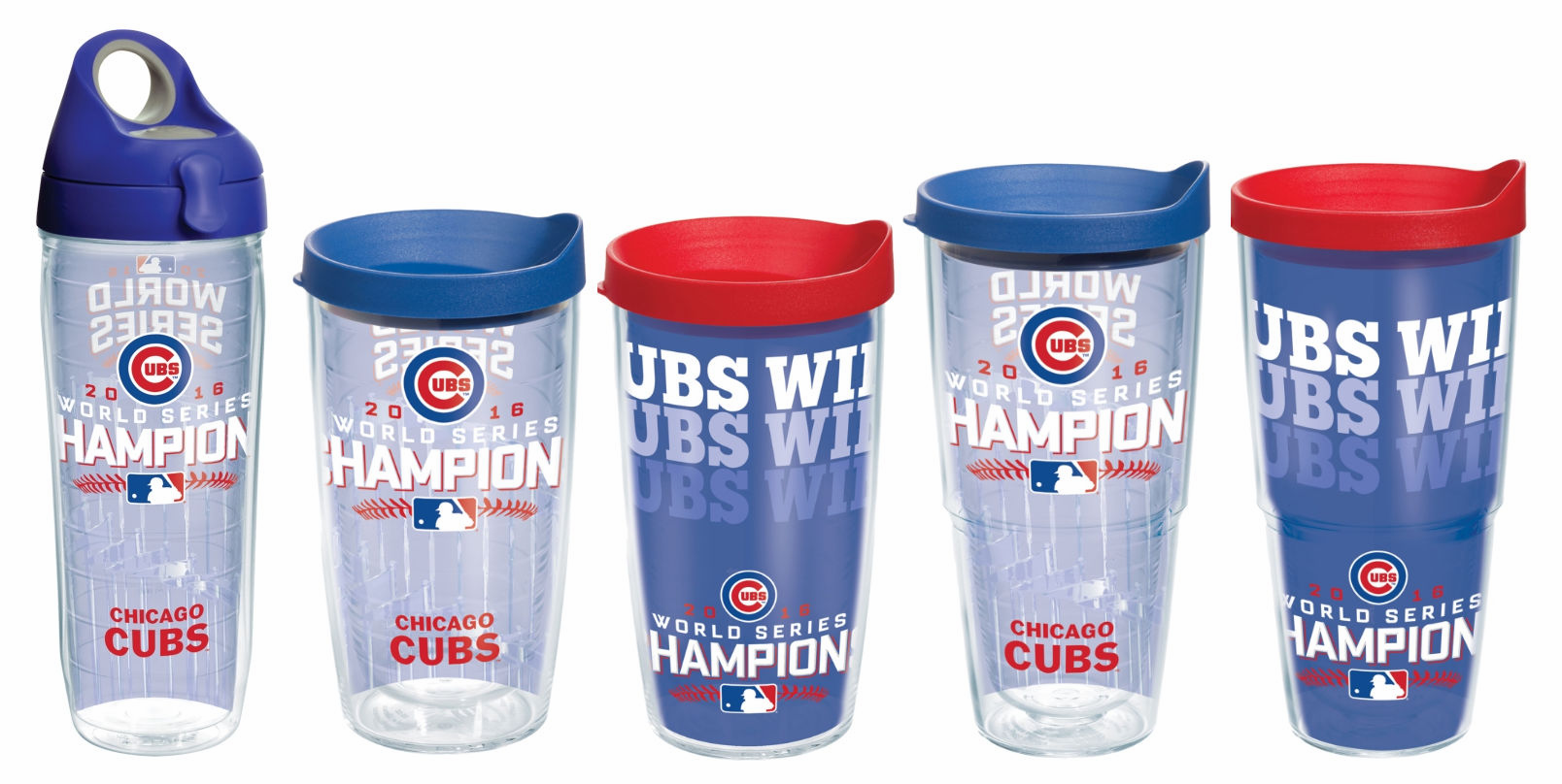 Chicago Cubs 2016 World Series Champions Cups with Lids by Tervis