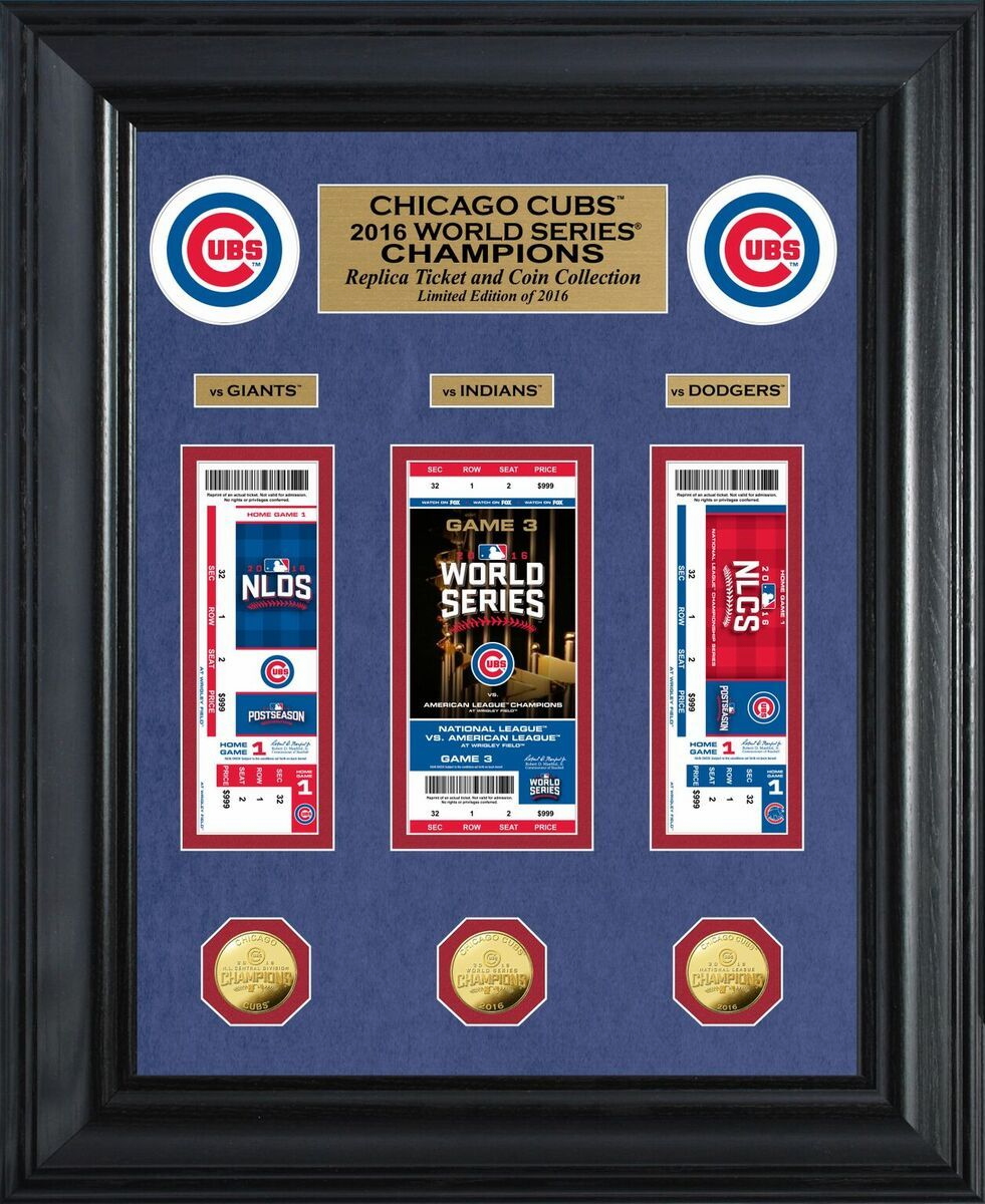 Chicago Cubs 2016 World Series Champions Deluxe Gold Coin & Ticket Framed Collection