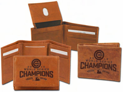 Chicago Cubs 2016 World Series Champions Embossed Leather Wallets<br>IN STOCK NOW!