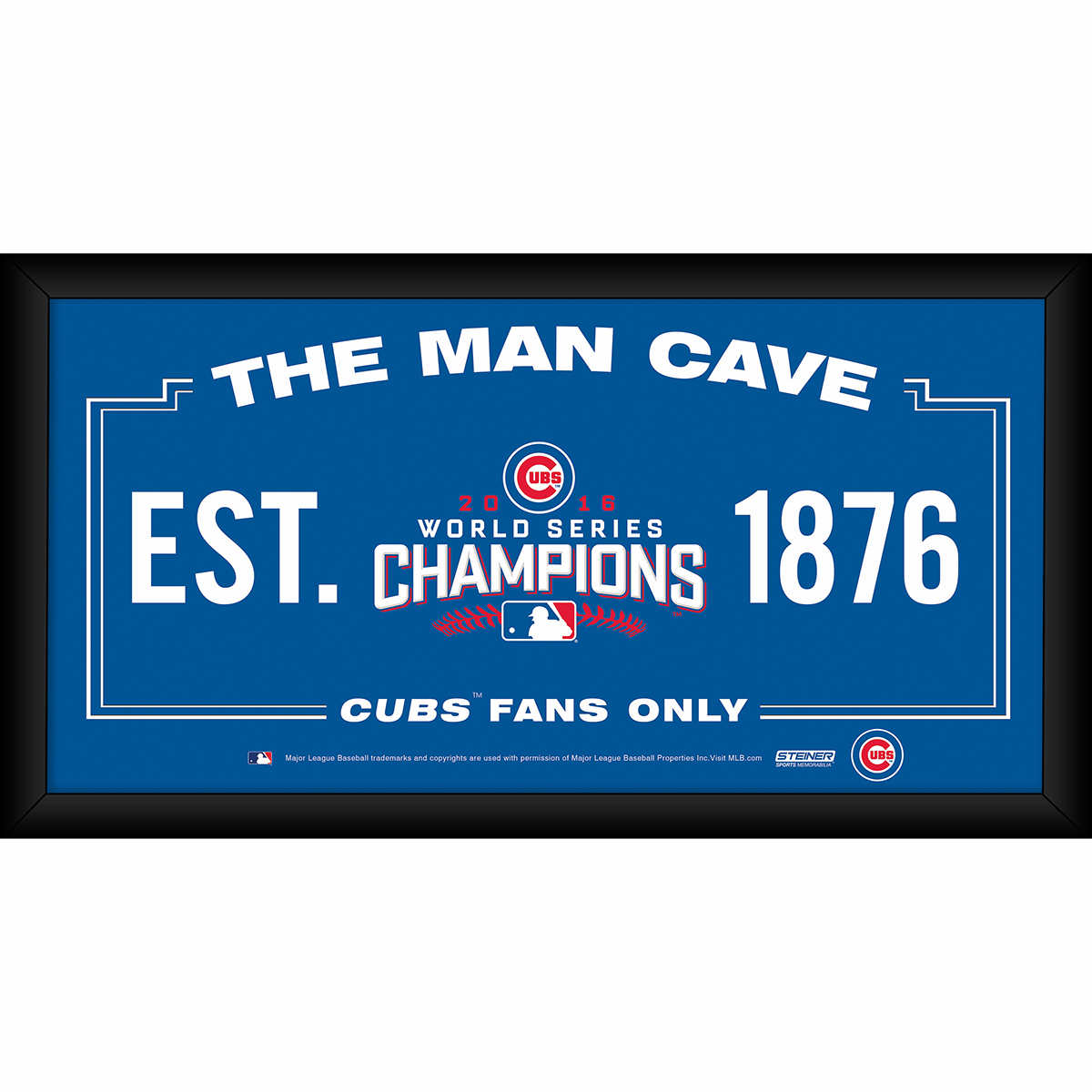 """Chicago Cubs 2016 World Series Champions Man Cave 10"""" x 20"""" Framed Sign by Steiner"""