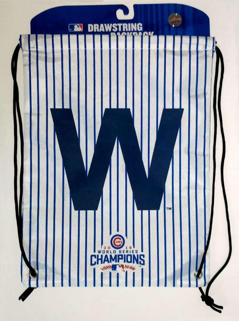 $3 $5 $7 SALE!<br>Chicago Cubs 2016 World Series Champions W Pinstripe Drawstring Backpack Bag<br>LESS THAN 12 LEFT!