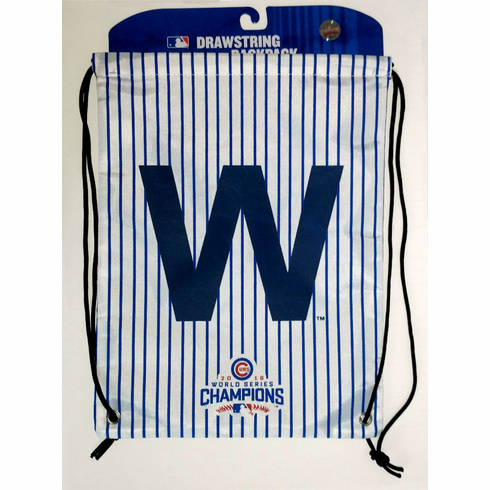 Chicago Cubs 2016 World Series Champions W Pinstripe Drawstring Backpack Bag<br>LESS THAN 6 LEFT!