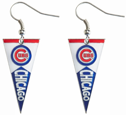 Chicago Cubs Baseball Pennant Earrings<br>LESS THAN 4 LEFT!