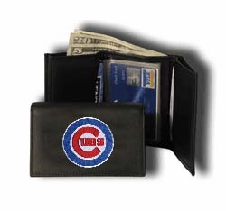 Chicago Cubs Embroidered Black Leather Trifold Wallet<br>ONLY 4 LEFT!