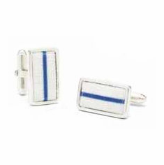 Chicago Cubs Game Used Baseball Pinstripe Uniform Cufflinks<br>ONLY 1 LEFT!