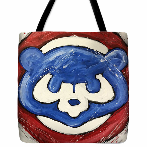 Chicago Cubs Painted Logo Baseball Tote Bag<br>3 SIZES AVAILABLE!
