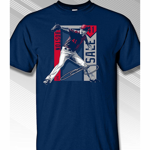 Chris Sale Boston Colorblock T-Shirt<br>Short or Long Sleeve<br>Youth Med to Adult 4X