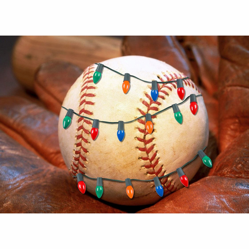Christmas Lights Baseball in Glove Holiday Cards<br>PRE-ORDER NOW FOR EARLY NOVEMBER DELIVERY!