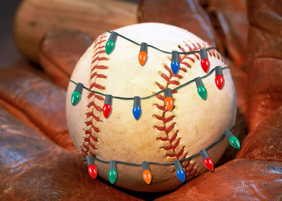 Christmas Lights Baseball in Glove Holiday Cards