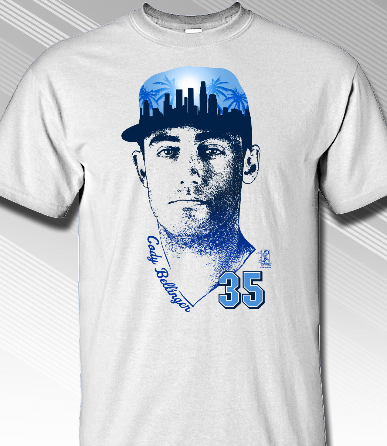 Cody Bellinger Los Angeles Skyline Cap T-Shirt<br>Short or Long Sleeve<br>Youth Med to Adult 4X