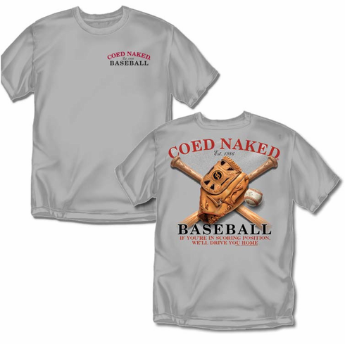 Coed Naked Baseball Adult T-Shirt<br>Adult Med to 4X