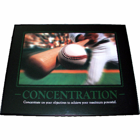 Concentration Motivational Baseball Framed Print