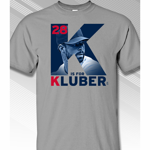 Corey Kluber K is for Kluber T-Shirt<br>Short or Long Sleeve<br>Youth Med to Adult 4X