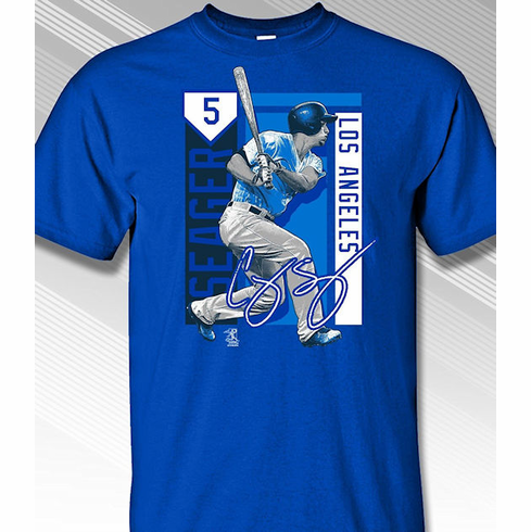Corey Seager Los Angeles Colorblock T-Shirt<br>Short or Long Sleeve<br>Youth Med to Adult 4X
