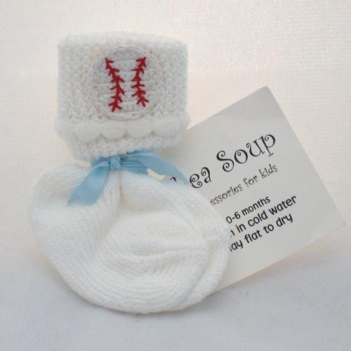 Crocheted Baseball 6-12mo Baby Socks