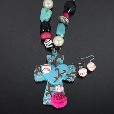 Cross and Baseball Rock Beaded Necklace Set - Blue<br>ONLY 1 LEFT!
