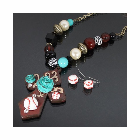 Cross and Baseball Rock Beaded Necklace Set - Brown<br>ONLY 2 LEFT!