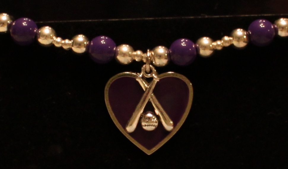 Crossed Bats Stretchy Purple Bracelet