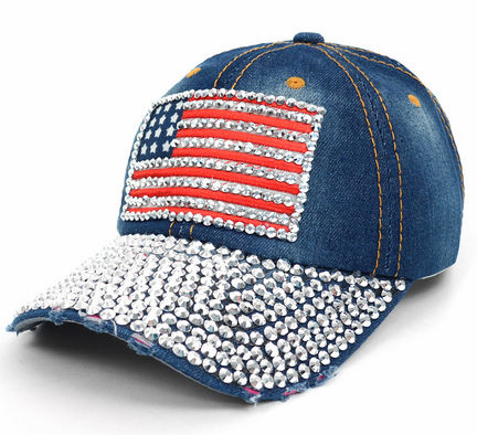 Crystal American USA Flag Bling Denim Baseball Hat<br>LESS THAN 10 LEFT!