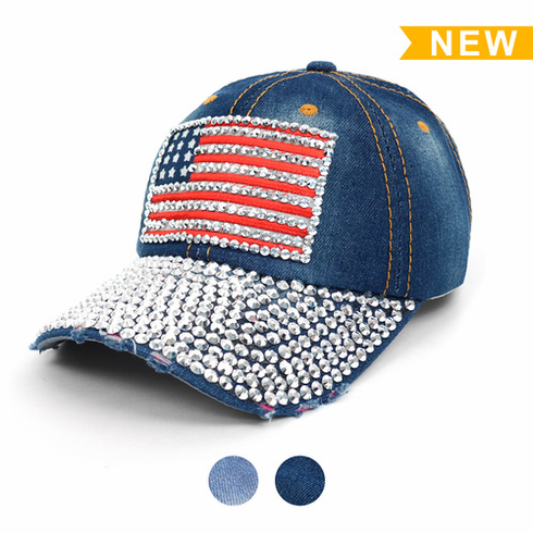 Crystal American USA Flag Bling Denim Baseball Hat<br>LESS THAN 6 LEFT!
