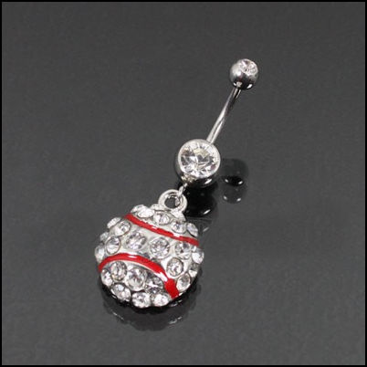 Crystal Baseball Belly Ring<br>ONLY 1 LEFT!