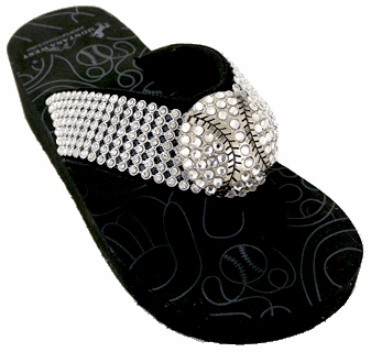 Crystal Baseball Black Flip-Flop Sandals<br>SIZE 6 OR 7