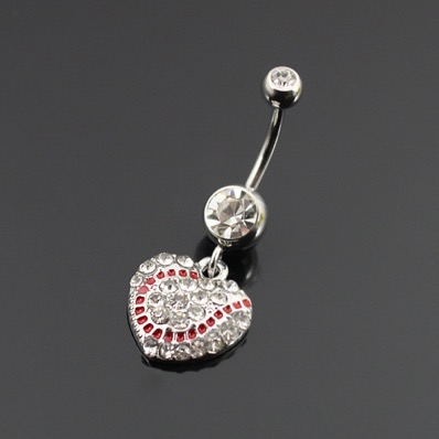 Crystal Baseball Heart Belly Ring<br>ONLY 2 LEFT!