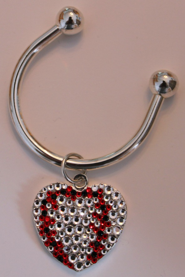 Crystal Baseball Heart Key Ring<br>ONLY 1 LEFT!