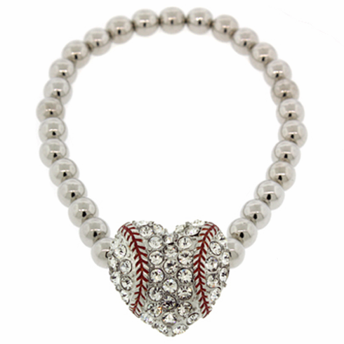 Crystal Baseball Heart Stretch Bracelet<br>LESS THAN 10 LEFT!