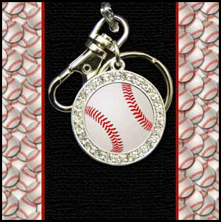 Crystal Baseball Key Chain