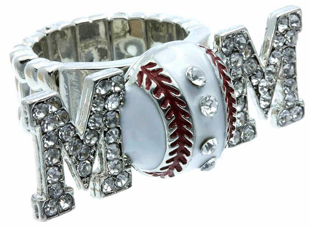 Crystal Baseball Mom Stretchy Ring