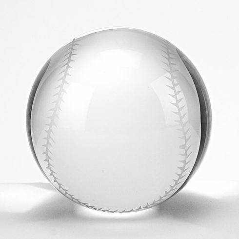 Crystal Baseball Paperweight