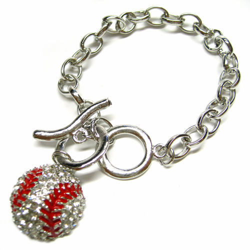 Crystal Baseball Silver Toggle Bracelet<br>ONLY 6 LEFT!